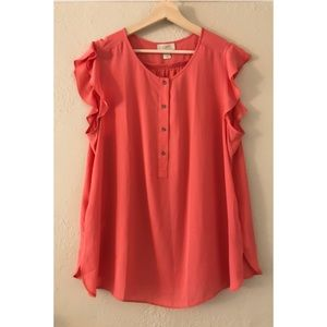LOFT Pink Salmon Blouse with Flitter Sleeve